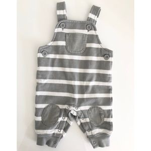 Gymboree Grey And White Baby Overalls 0-3 M New!